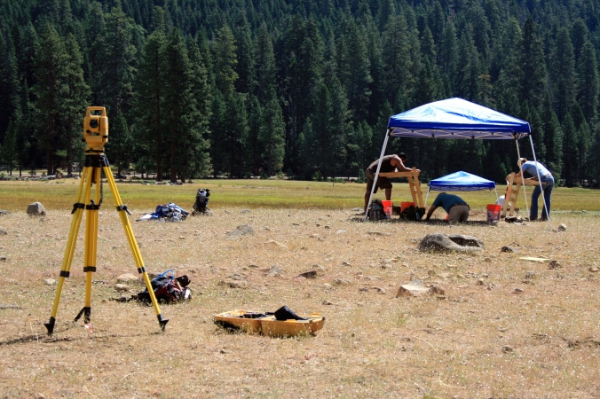 All of the surface finds and EUs are mapped in with the total station.