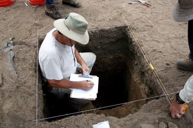 Volunteers record information about unit features including soil type and color.