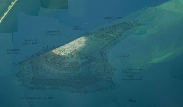 Flooded by the St. Lawrence Seaway project, the remains of the island fort are currently underwater.