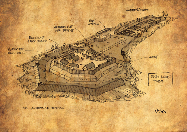 My concept sketch of how the fort would have looked on Isle Royale in 1759.